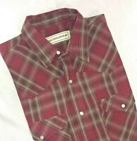 Bit & Bridle Mens Pearl Snap Plaid Western Casual Shirt Size XLT XLarge Tall