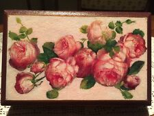 "Old French Wooden Box with Carton Bouilli & Decoupage Roses 9.25"" x 5.9"" x 2"""