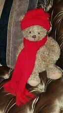 """Hallmark """"Mary"""" Red KNIT  Hat & Scarf Christmas holiday 15"""" Plush Brown Bear NEW"""