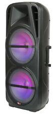 "QFX PBX-621501 2 X 15"" Rechargeable PA Speaker +Bluetooth +USB/SD/FM/LED"