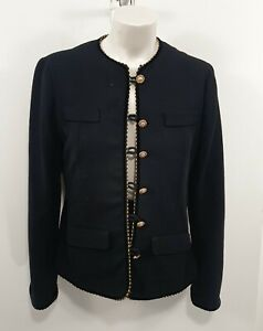 Trent Nathan Black Gold Button Vintage Jacket Sz 12 with Flaws