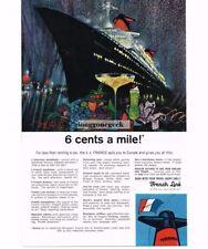 1965 French Line SS France Ocean Liner art Bob Peak Vtg Print Ad