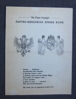 1960s The Dano Family's Austro-Hungarian Dining Room Menu,  West Harwich, MA