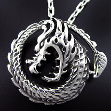 Sterling Silver Dragon Serpent Circle Medallion Pendant Oxidized Gothic Goth