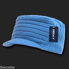 SKY BLUE KNIT FLAT TOP JEEP CADET  VISOR BEANIE MILITARY HAT CAP