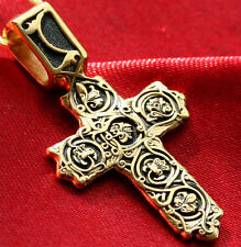 RUSSIAN ORTHODOX CROSS. SILVER 925+.999 GOLD. GOLGOTHA CROSS. TREE OF LIFE.