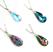 Teardrop Crystal STR Silver Adjustable Necklace Made with Swarovski Elements