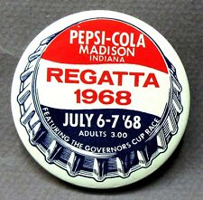 1968 MADISON REGATTA ADULT Pepsi Cola Soda pinback button Hydroplane boat race y