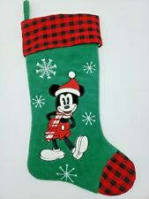 Disney Store Mickey Mouse Plaid Green Holiday Christmas Stocking