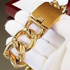 245g x 30mm Wide Men Stainless Steel Bracelet Heavy Weight 24K Gold Plated skull