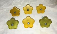 Vintage MCM Flower Lucite Cabinet Door Pulls Knobs Lot Of 6 Amber Green