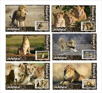 2020 LION WILD CATS  6 SOUVENIR SHEETS  UNPERFORATED LIONS FAUNA WILD ANIMALS