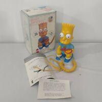 "Vintage Bart Simpson Phone Telephone 1990 Corded Landline 8"" SIMPSONS w/ Box New"