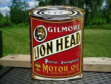 VINTAGE OLD GILMORE LION HEAD MOTOR OIL CAN PORCELAIN DEALER ADVERTISING SIGN