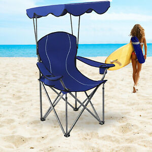 Folding Camping Chair Portable Travel Backpacking Chairs Canopy Shade , 350 LBS