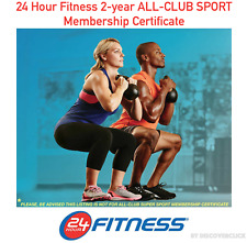 NEW 24 Hour Fitness 2-year ALL-CLUB SPORT Gym Membership 1 Certificate Print-Out