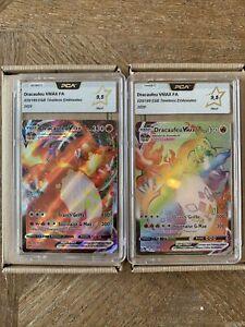 Carte Pokémon DRACAUFEU Vmax Full Art & Rainbow 20/189 & 74/73 FR - PCA 9,5 Neuf