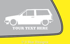 2x LOW YOUR TEXT VW Polo Mk2 squareback wagon outline sticker 283