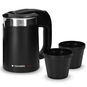 Edelstahl Reisewasserkocher 0,5l mit 2 Trinkbechern Mini Reise-Wasserkocher