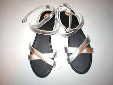 New Womens Hollister M 8 9 Sandals Wrap Silver White Girls Cross Strap 8.5 Metal