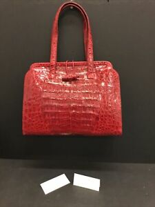Authentic Never Used NANCY GONZALEZ RED CROCODILE Bowler Satchel Bag