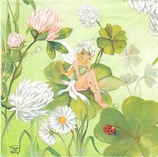 2 Serviettes en papier Elfe Fée de la Chance Paper Napkins Fairy Luck Felicitas