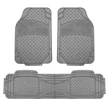 3pcs Floor Mats for Auto Car SUV Van Semi-Custom Trimmable Vinyl Floor Mat Gray