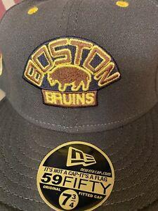 NHL Boston Bruins Hat 7+3/4 New Era Wool Cap *New Old Stock*circa 2004 NWT