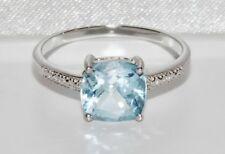 Sterling Silver 2.00ct Cushion Cut Aqua Topaz & Diamond Engagement Ring - size N