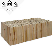 Natural Wooden Log Side Table Living Room Handmade Decor Rustic Home Furniture