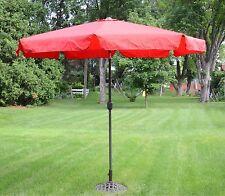 9 Foot Red Outdoor Patio Deck Market Umbrella Tilt