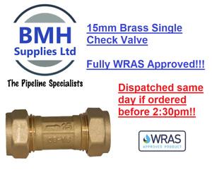 15mm Brass Single Check Valve Compression NON Return Valve. WRAS! Free Delivery!