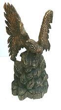 en bois sculpté à la main aigle statue 70 cm haut oiseau de proie, sur pied