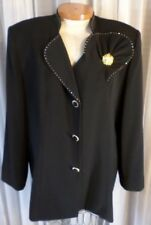 NEW Black 20 Lady Woman Lined Jacket Formal Top Blouse Rhinestone 2X Elegant NWD