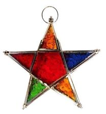 Star shape Moroccan style hanging T-Light candle holder lantern for indoor or...