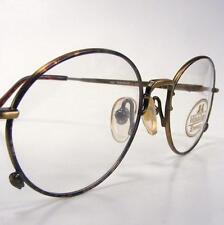 Antique Gold Oval Tortoise NOS Willis Geiger Eyeglass Frames Wire Rim 51-19 Vtg