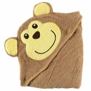 Luvable Friends Animal Face Hooded Towel, Brown Monkey