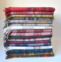 New SCOTTISH  HIGHLAND BORDER TWEEDS 100% Wool Tartan Blanket Rugs Check Throws