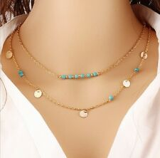 Women's Gold Plated and Turquoise Multi-Layer Pendant Necklace Chain.