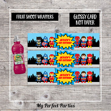 6 Personalised Super Hero Birthday Party Fruit Shoot Bottle Wrappers