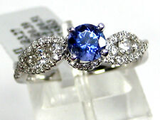 Tanzanite Ring 14K White Gold U Pave Cross Over Natural AAA+ D Block $1,974