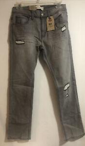 Levi's Big Boys 511 Slim Jeans Gray Rip Size 16 Reg (28W x 28L)