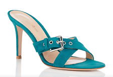 NIB Gianvito Rossi Teal Blue Suede Buckle Strap Mule Sandals Pumps Sz 40.5 $795
