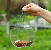 Round / Triangle Wild Bird Feeder Toy Cage Outdoor Garden Seed Food Tree Hanging