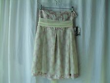 Kenzie Skirt Size 10 Pink Gray Beige 100% Silk with Mesh Top Layer and Belt NEW