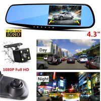 "4.3"" HD 1080P Dual Lens Car Auto Mirror Dash Cam Recorder+Rear View Camera Kit"