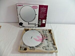 "Conair Wall Mount Mirror NIB 5x Magnification 8"" Diameter Nickel Swing Arm"
