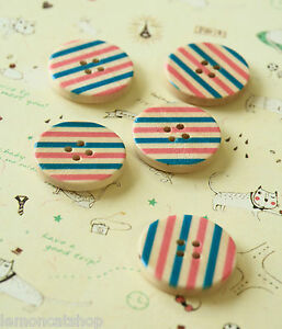 Pretty Wood Buttons 5pc Pink & Blue Striped sewing scrapbooking handmade crafts