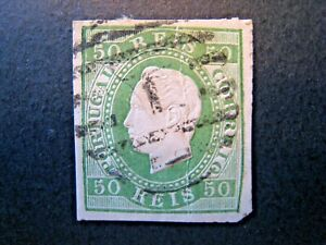 1870 Portugal S# 42, 50 Reis Pale Green Stamp Used,