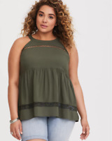 Torrid Plus Size 3X Olive Green Lace High Neck Challis Tank Top Casual